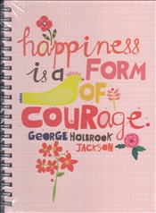 Deffter - Lovely Happiness Courage Sert Kapak Spiralli Çizgili Defter 20x28 96yp. -